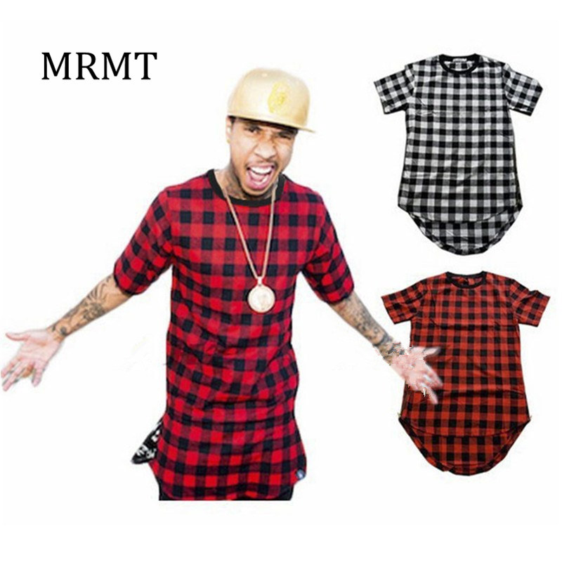 2018 Brand New Clothing Mens Checked Shirt Hip Hop plaid t shirt Zipper Hiphop Swag T-Shirt Streetwear Mens Tyga maschio Maglietta