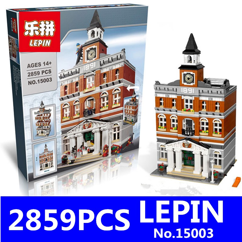 Town Hall Model LEPIN 15003 2859Pcs Building Bricks Creator Kid Toy Compatible Brick Christmas Children Toys Gift Educational lepin 02012 city deepwater exploration vessel 60095 building blocks policeman toys children compatible with lego gift kid sets