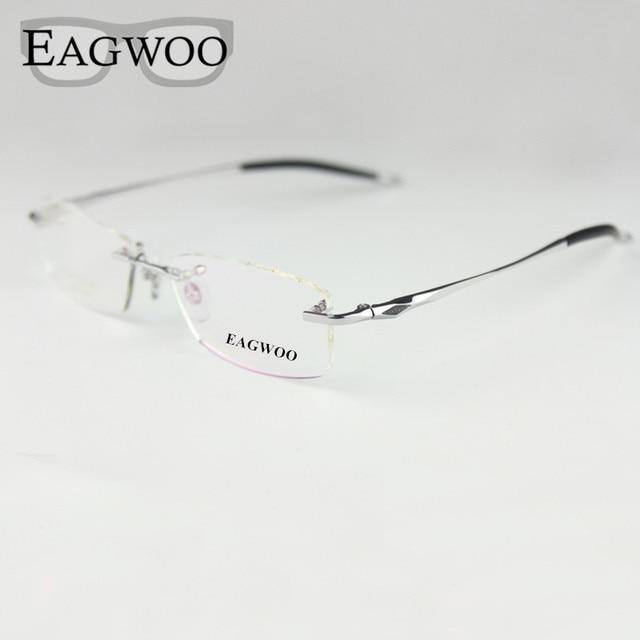 b394a15e30 Pure Titanium Eyeglasses Rimless Optical Frame Prescription Spectacle Frameless  Glasses For Men Eye glasses Silicon Foot
