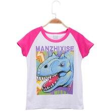 цена на 2019 New Children Clothes Kids T-shirts Dinosaur Print Raglan Short Sleeve Cotton Child Baby T Shirt Girl Tops Tee Free Shipping