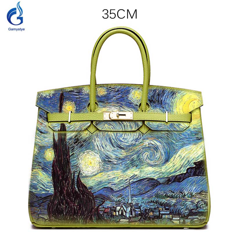 Togo leather Hand-Drawing Van Gogh Starry Sky Hand Bags Genuine Leather Handbags Luxury Designer bags Real Cowskin Women Totes O настенные фотокартины van gogh fruit df 218