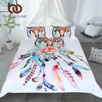 BeddingOutlet Floral Dreamcatcher Bedding Set King Hipster Feathers Skull Duvet Cover Bohemian Printed Bedclothes Multi Colors