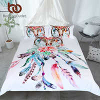 BeddingOutlet ดอกไม้ Dreamcatcher ชุดเครื่องนอน King Hipster Feathers Skull ผ้านวม Bohemian Gothic ผ้าปู Multi สี