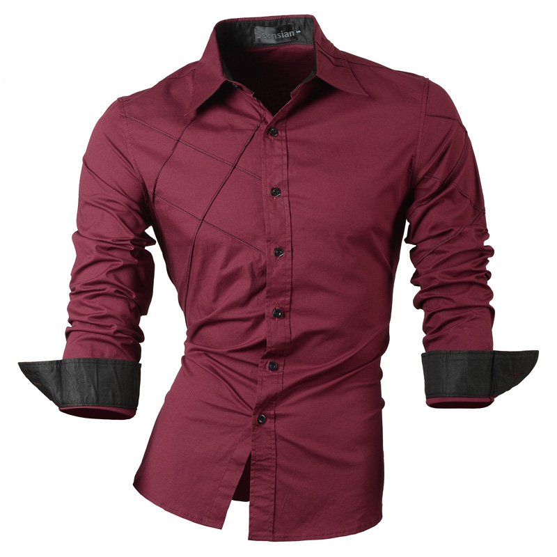 jeansian casual shirts dress male mens clothing long sleeve social slim fit brand boutique cotton western button 2028 4