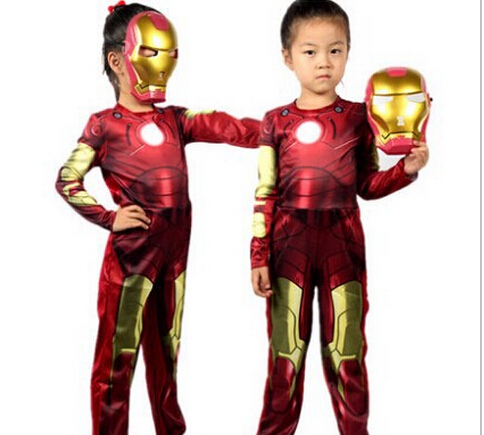 Free shipping,New Arrival Halloween Costumes Iron Man clothing Cosplay Christmas Clothing Metal Robot Clothes Kids Leotard+Mask