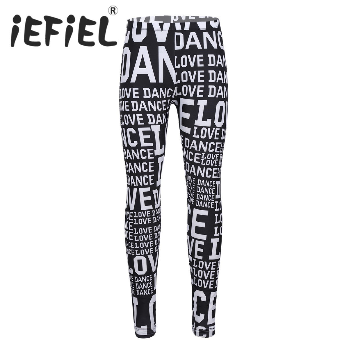 FEESHOW Kids Girls Love Dance Printed Stretch Active Leggings Tights Gymnastic Workout Sports Yoga Pants