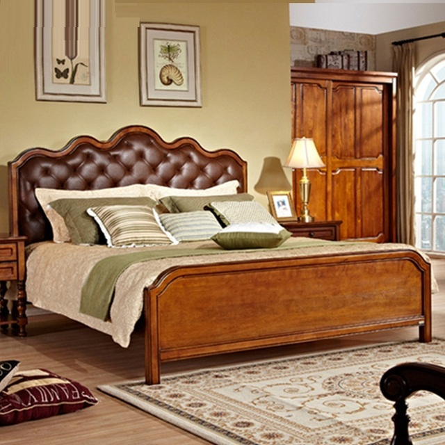 American Country Style Home Furniture Bedroom Queen King Size Genuine Leather Beds 1 8 Meter Double
