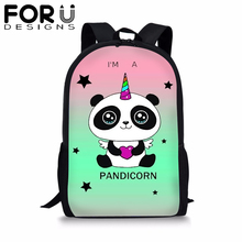 FORUDESIGNS Cartoon Panda Unicorn School Backpack for Teenager Girls Boys Black BookBag Student 16 inch Satchel Daypack Mochila