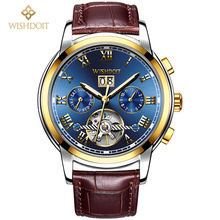 WISHDOIT Luxury Brand Watch Men's Automatic Mechanical Watch Men Sports Waterproof Leather Male Clock Relogio Masculino стоимость