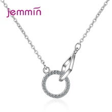 Korean Style Women 925 Sterling Silver Cubic Zircon Circle Pendant Necklaces Women Jewelry Geometric Charms Chokers new 925 sterling silver zircon square circle necklaces pendant fashion sterling silver jewelry statement for women bijoux