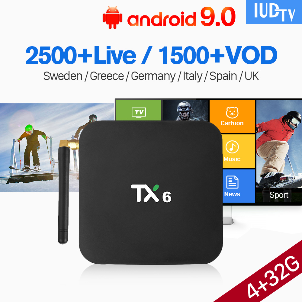 TX6 Android 9.0 IPTV Sweden Spain Italy IUDTV 4+32G BT5.0 USB3.0 Dual-Band WIFI IPTV 1 Year Italy Greece English UK Germany Box TX6 Android 9.0 IPTV Sweden Spain Italy IUDTV 4+32G BT5.0 USB3.0 Dual-Band WIFI IPTV 1 Year Italy Greece English UK Germany Box