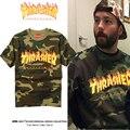 T-shirt Dos Homens do Algodão de Alta Qualidade 1:1 Marca Thrasher Roupas Da Moda Camuflagem T-shirt de Manga Curta Hip Hop Thrasher Skates