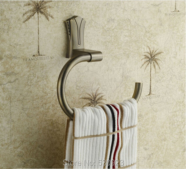 Newly Vintage Euro Style Antique Bronze Bathroom Towel Ring Rack Solid Brass Bath Towel Clothes Holder