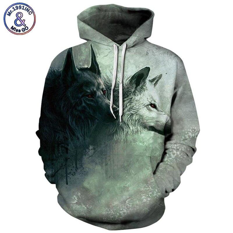 Mr.1991INC 2018 new Black and white snow Wolf 3d Sweatshirts Men/Women hoodie sweatshirt Casual Hooded Pullovers Men Hoodies