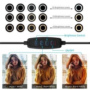Image 5 - 6 дюймовый светодиодный настольный кольцевой светильник 3200K 5500K, мини лампа освещения для камеры светильник, лампа 3 режима и 10 уровней яркости для макияжа YouTube