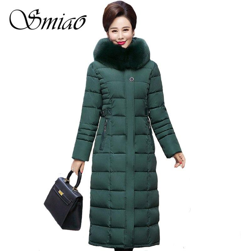 Smiao más tamaño 5XL invierno chaqueta mujer mujeres negro abrigo 2018 mujer Parka de manga larga capucha delgada mantener caliente grande cuello de piel 4XL