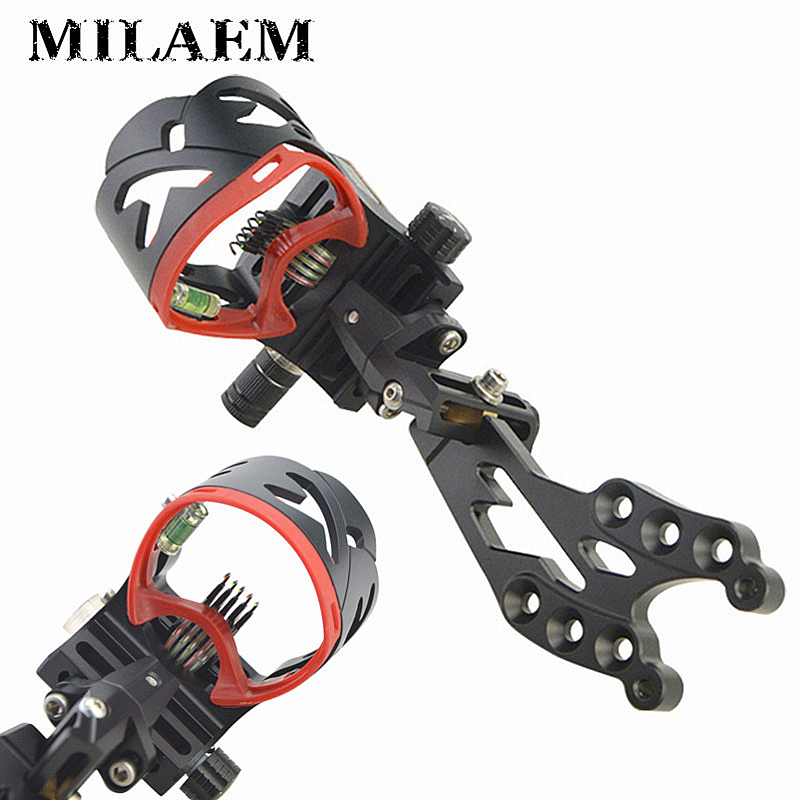 цена на 1 Pc AXT45ZM CNC Aluminum Adjustable Compound Bow Sight 5 -Pin Fiber Optic Sight For Bow Hunting Shooting Archery Accessories