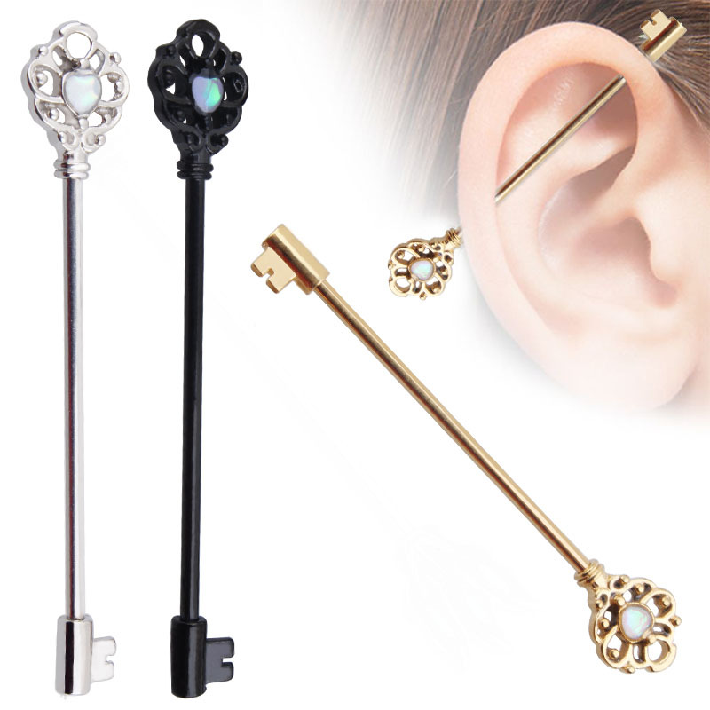 "Industrial Barbell Cartilage Jewelry Scaffolding 14g 1 1//2/"" Opal Skeleton Key"