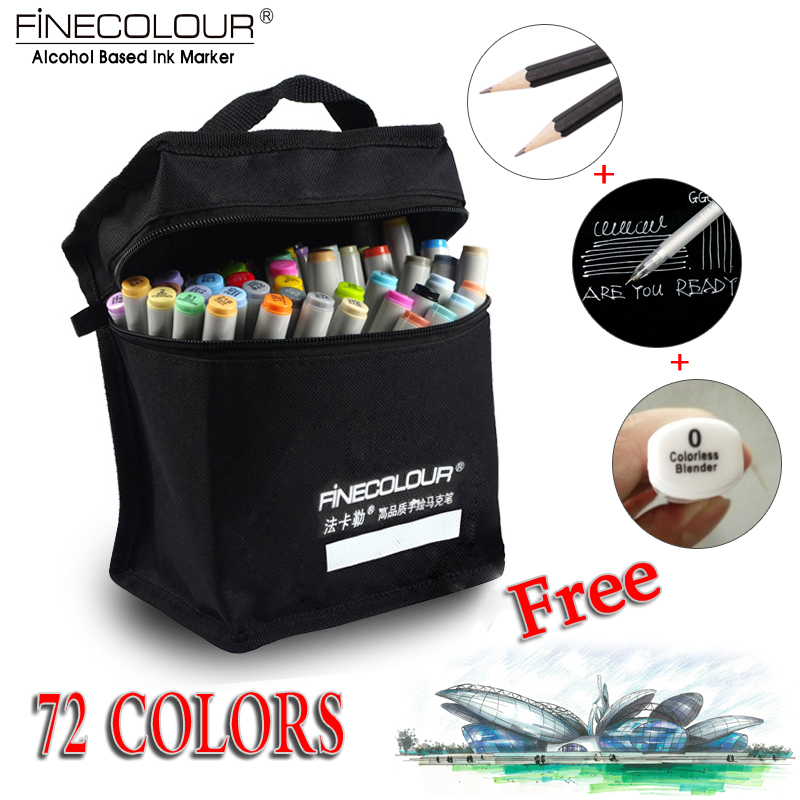ФОТО FINECOLOUR Artist Double Headed Sketch Copic Marker Set 36 48 60 72 Colors Alcohol Based Manga Art Markers for Design Supplies