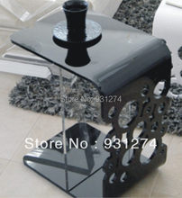 Black Acrylic side table/end table/bed table/ perspex coffee table/living room furniture/acrylic furniture(China)