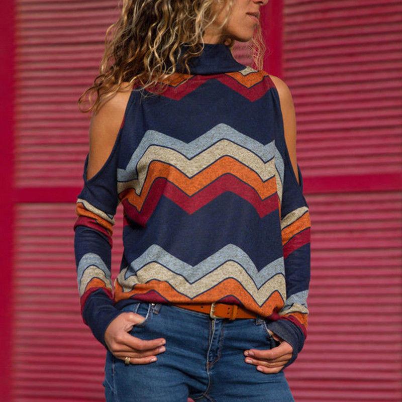 נשים ארוך שרוול חולצות חדש 2019 גבירותיי Jumper סוודר חולצות פסים חשוף כתף חולצה סתיו חורף אלגנטי אישה חולצות חמה
