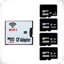 Draadloze wifi CF card adapter + micro sd sdhc sdxc kaart 64 GB 32 GB 16 GB 8 GB class10 wifi draadloze MicroSD Geheugen TF Card