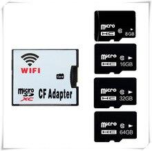 אלחוטי wifi CF כרטיס מתאם + micro sd sdhc sdxc כרטיס 64 GB 32 GB 16 GB 8 GB class10 wifi אלחוטי MicroSD זיכרון TF כרטיס