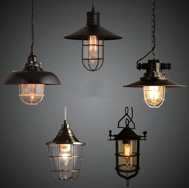 Industrial Loft Style Antique Lamp Edison Vintage Pendant Light Fixtures For Dining Room Bar Hanging Droplight Indoor Lighting creative loft style iron cage vintage pendant light fixtures antique industrial lamp hanging for dining room indoor lighting