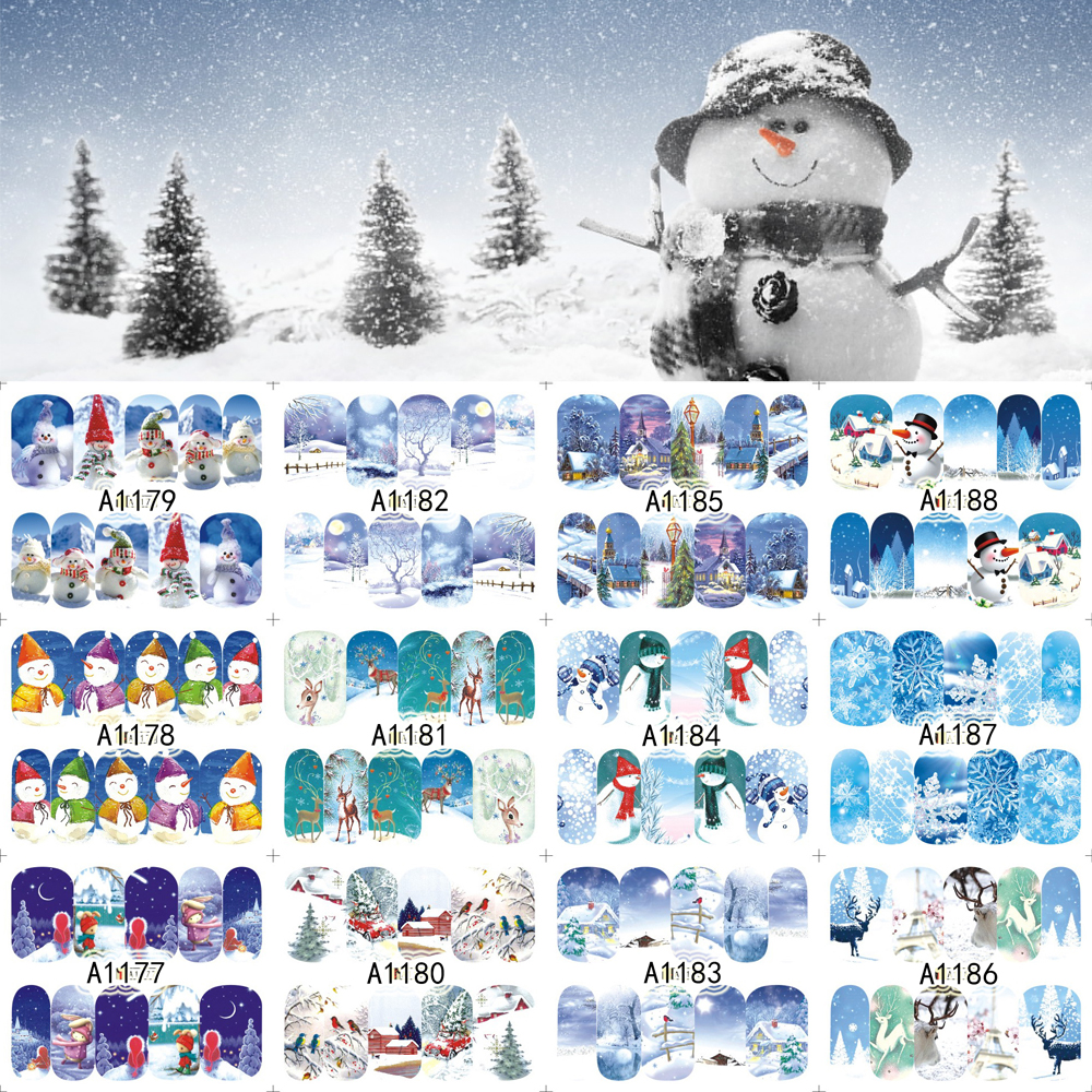 New 12 Sheets XMAS Nail Art Water Transfer Sticker Full Cover Decals Winter Merry Christmas Design Stickers Wrap Tips Decoration 12 sheets nail art water transfer sticker full cover decals french eiffel tower pisa italy design stickers wrap tips decoration