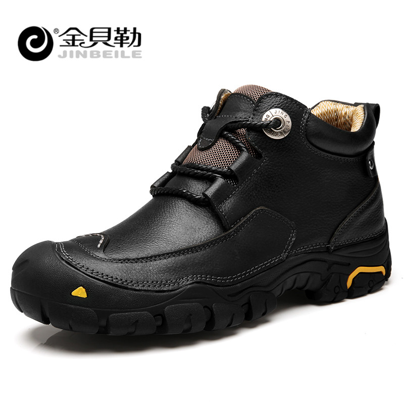 JINBEILE Men Hiking Shoes Sport Comfortable Sneakers Outdoor Leisure Manual Rubber Soles Genuine Leather High Quality Man Shoes peak sport men outdoor bas basketball shoes medium cut breathable comfortable revolve tech sneakers athletic training boots