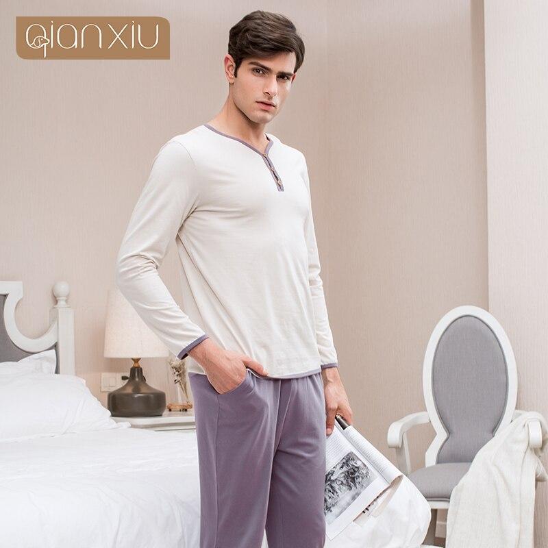 Qianxiu high quality mens soft cotton long sleeve pyjamas set men sleepwear set plus size m