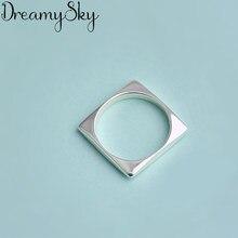 Moda kolor srebrny kwadrat geometryczny pierścionek zaręczynowy dla kobiet pierścionek zaręczynowy