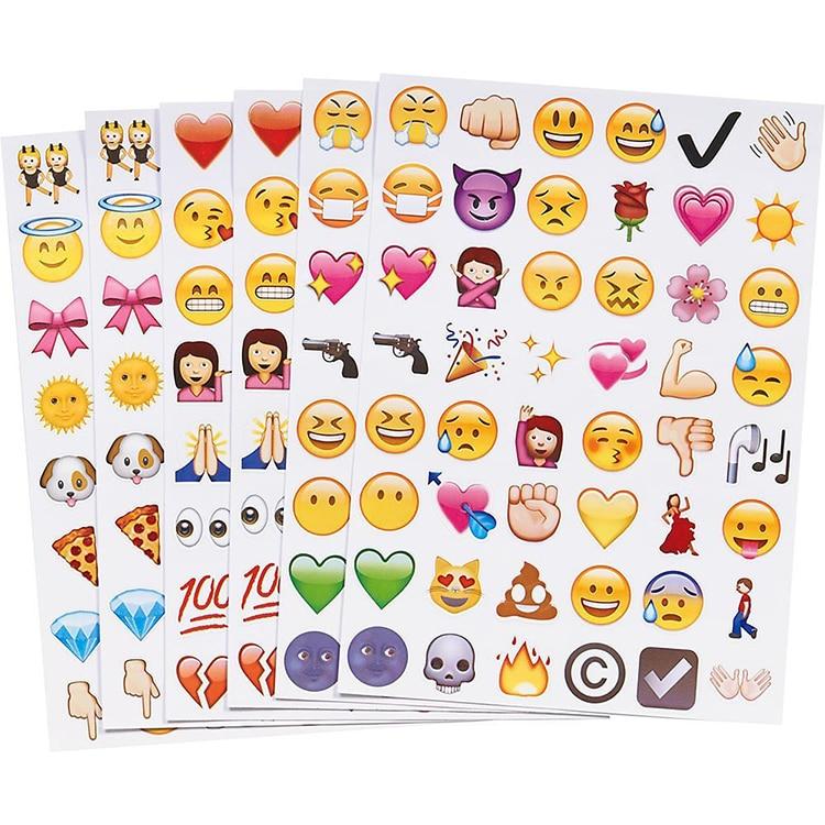4 pieces!!Cute Lovely 48 Die Cut Emoji Smile Sticker For Notebook Message High Vinyl Stickers