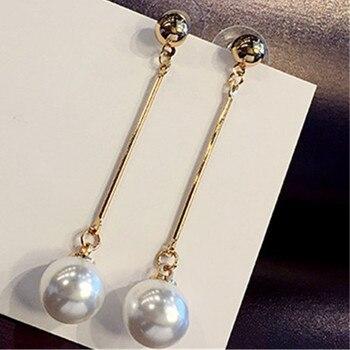 Korea hot new earrings OL temperament simulation pearl long earrings sailor wedding chain