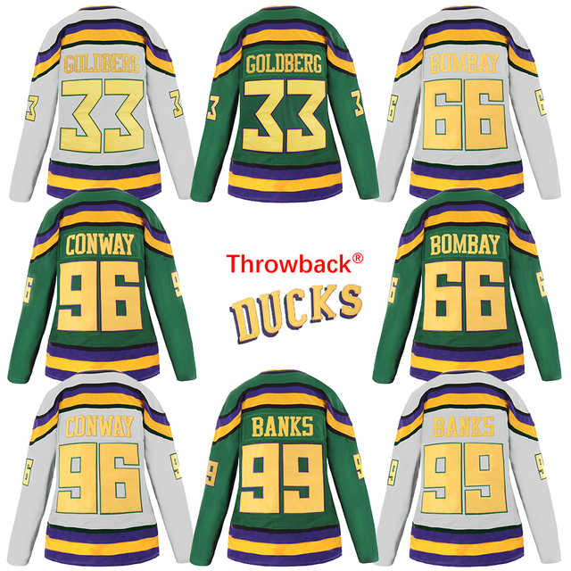 Throwback Jersey Women s Mighty Ducks Jersey  96 Charlie Conway 33 Greg  Goldberg 99 Adam Banks 66 Gordon Bombay Hockey Jersey b48bb01621