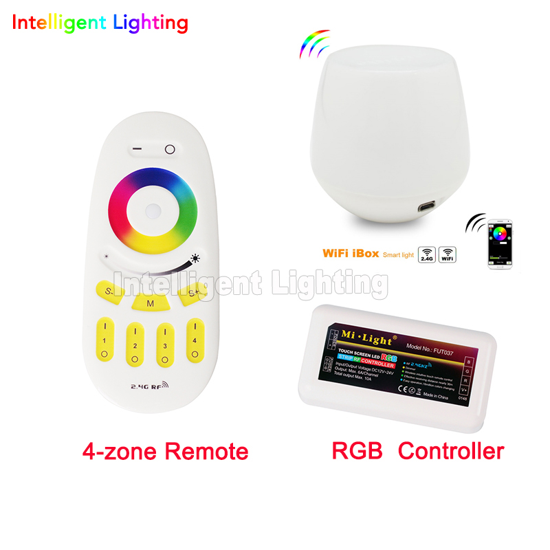 Mi Light 2.4G 4-Zone Wireless RF Touch Remote+1x LED RGB Dimmable Controller  18A 12-24V +1x Wifi for led strip light dimmable 2 4g mi light touch wifi wireless 2x rgb led controller 4 zone groups control for rgb 5050 3528 led strip light