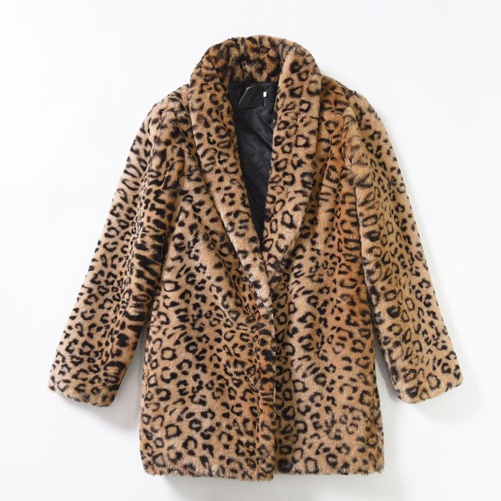 f7b13fde6b o0o 4xl Leopard Print Plus Size Coats Female Warm Soft Turn Down Collar  Slim Faux Fur Jacket Winer Fashion Artificial Fur Coats-in Faux Fur from  Women s ...