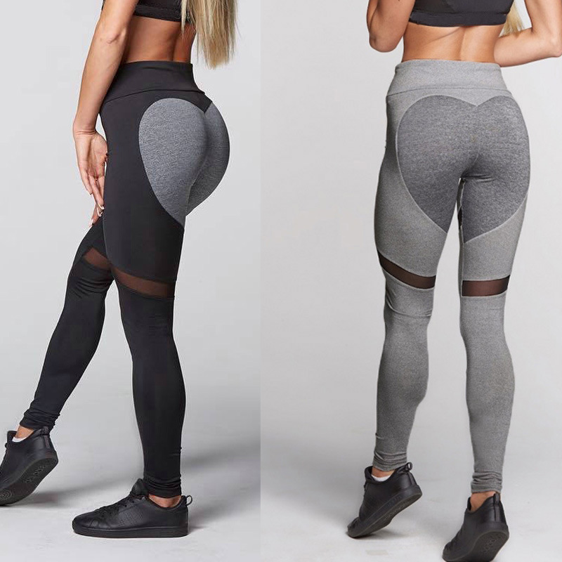 Women Heart Pattern Leggings High Elastic Fitness Leggings New Arrival Ladies Plain Elastic Mesh Splice Leggins