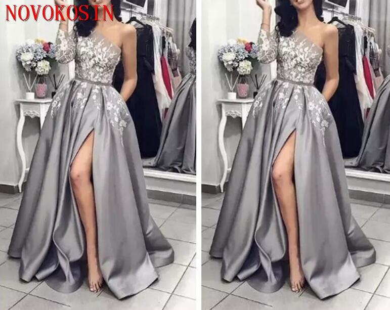 Une épaule manches longues robes De bal 2019 Split dentelle Appliques formel Long Vestidos De soirée personnalisé dames robe De soirée