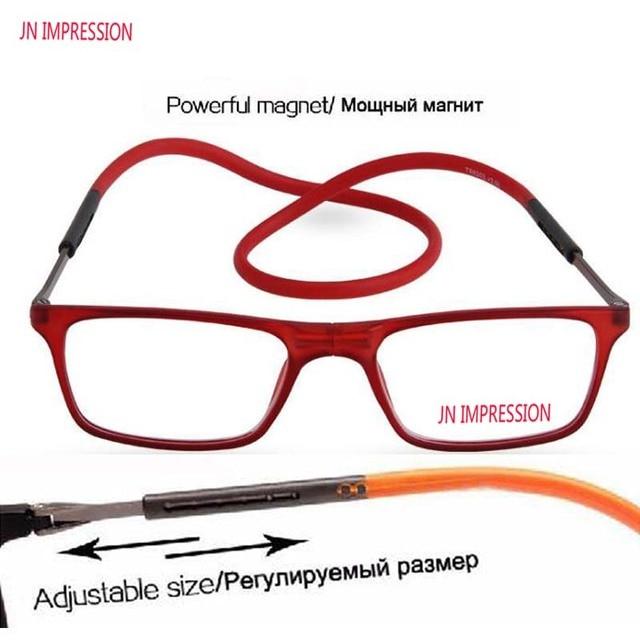 JN IMPRESSION Magnetic Titanium reading glasses Men Adjustable Hanging Neck Folding Glasses Front Connect Silica gel Temple