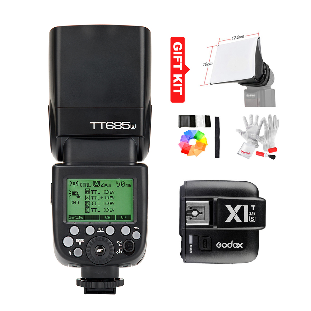 Godox TT685S Speedlite Flash Light GN60 1 / 8000s HSS TTL + X1T-S Flash გადამცემი (MI ფეხსაცმელი) Sony A58 A7RII A7II A99 A7R