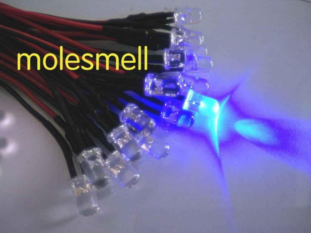 50pcs 5mm 12v Blue Water Clear Round Led 12V DC 20cm Pre-Wired LED Light DIY