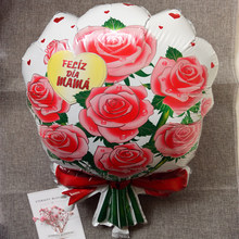 Happy mother s day balloons mother kids Bouquet of Roses Spanish 60 40cm Birthday Party balon