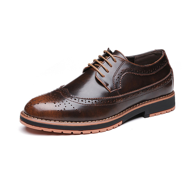 e0ef3582006717 new men loafers Genuine Leather shoes men Business Formal Brogue Pointed  Toe Carved Oxfords Vintage Wedding