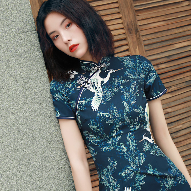 2020 Chinese Dress Chinese Women Cheongsam Lady Qipao Black Print Flower Long Dress Bride Wedding Dresses Elegant Gown Vestidos