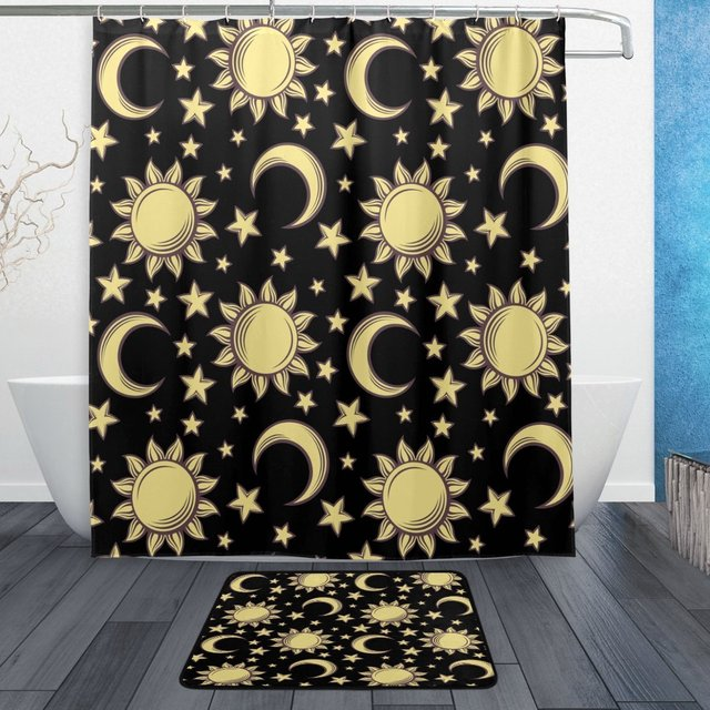 Sun Moon Star Waterproof Polyester Fabric Shower Curtain With Hooks