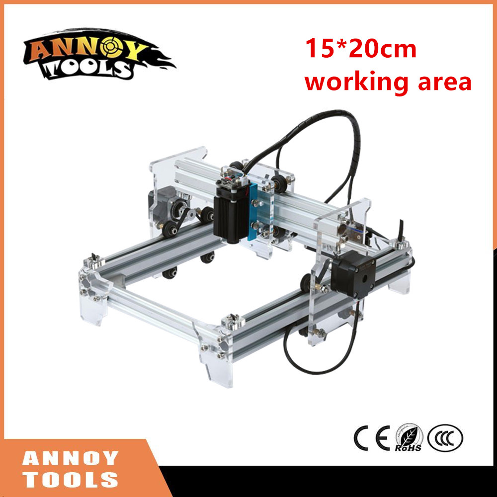 ANNOYTOOLS NEW Laser Engraver 500MW/1600MW/2500MW/5500MW 15X20CM working area DIY Mini Laser Engraving Machine 15*20cm 500mw 1600mw 2500mw 5500mw focusable laser diode module with heatsink cooling fan for eleksmaker laser engraving machine pwm