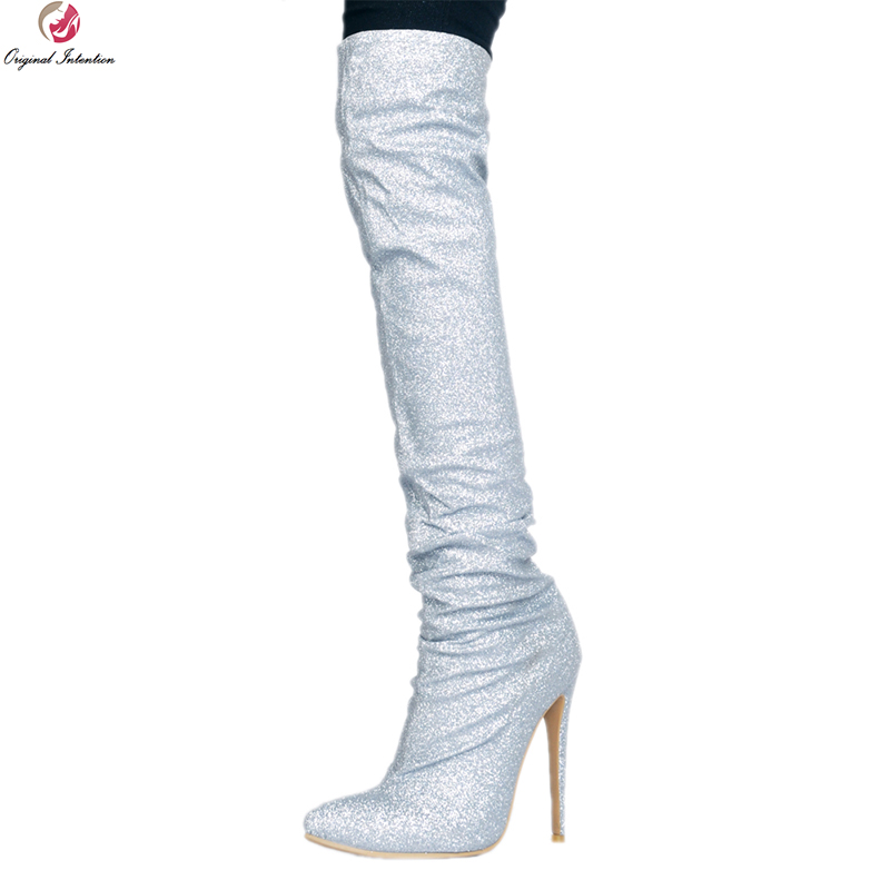 Original Intention Sexy Women Over-the-Knee Boots Glitter Pointed Toe Thin High Heels Boots Silver Shoes Woman Plus Size 4-15 original intention high quality women knee high boots nice pointed toe thin heels boots popular black shoes woman us size 4 10 5