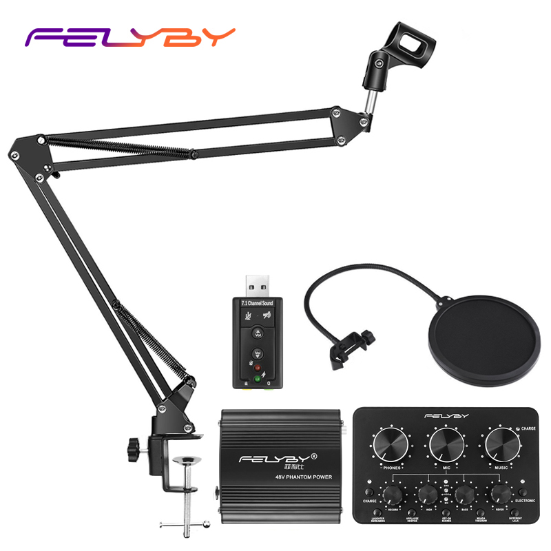FELYBY Live computer bm800 microphone stand Metal bracket mic stand Support multi angle adjustment Suitable for all kinds of mic