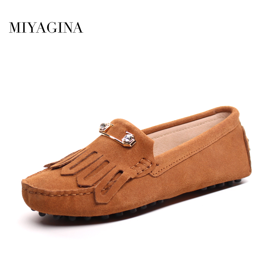 100% Genuine Leather Women Shoes Spring Autumn Casual Shoes Comfortable Women Flats Round Toe Women lofers Driving shoes muyang new 2017 women shoes genuine leather flats round toe bowtie soft comfortable flat shoes spring autumn casual female shoes